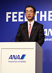 February 19, 2018, Tokyo, Japan - Japan's airline giant All Nippon Airways (ANA) president Yuji Hirako delivers a speech at a promotional event for ANA's free Wi-Fi service in Tokyo on Monday, February 19, 2018. Japanese actress Haruka Ayase was named as ANA's new CA, communication attendant by ANA president Yuji Hirako.    (Photo by Yoshio Tsunoda/AFLO) LWX -ytd-