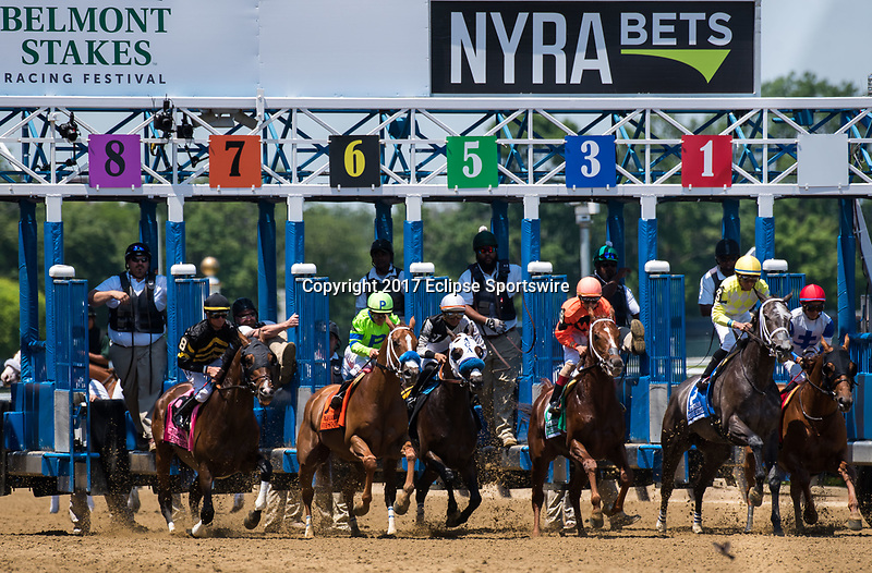 ELMONT, NY - JUNE 10: The field exits the gate at the start of the Brooklyn Invitational Stakes on Belmont Stakes Day at Belmont Park on June 10, 2017 in Elmont, New York (Photo by Dan Heary/Eclipse Sportswire/Getty Images)