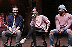 """Marc delaCruz, Gabriella Sorrentino and Terrance Spencer during the Q & A before The Rockefeller Foundation and The Gilder Lehrman Institute of American History sponsored High School student #EduHam matinee performance of """"Hamilton"""" at the Richard Rodgers Theatre on 4/03/2019 in New York City."""