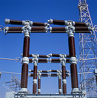 Switchgear, high voltage heavy duty units in power station switchyard..