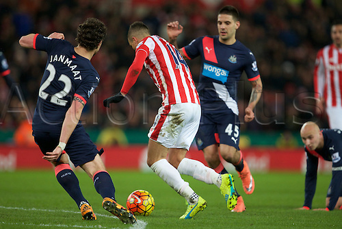 02.03.2016. The Britannia Stadium, Stoke, England. Barclays Premier League. Stoke City versus Newcastle United. Stoke City midfielder Ibrahim Afellay is tackled by Newcastle United defender Daryl Janmaat.