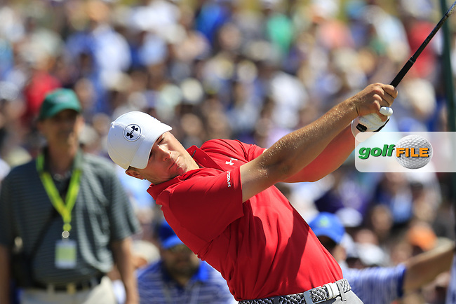 Jordan Speith (USA) tees off the 1st tee to start his match during Saturday's Round 3 of the 2015 U.S. Open 115th National Championship held at Chambers Bay, Seattle, Washington, USA. 6/20/2015.<br /> Picture: Golffile | Eoin Clarke<br /> <br /> <br /> <br /> <br /> All photo usage must carry mandatory copyright credit (&copy; Golffile | Eoin Clarke)
