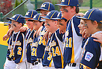 Players celebrate their win after a Little League game.