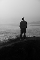 man at Mendocino headlands