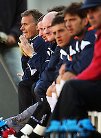 Newcastle Jets coach Gary Van Egmond (left) is pensive on the bench during the first half during the A-League match between Wellington Phoenix and Newcastle Jets at Westpac Stadium, Wellington, New Zealand on Sunday, 4 January 2009. Photo: Dave Lintott / lintottphoto.co.nz