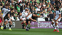 Clermont Auvergne's Peter Betham is tackled by Northampton Saints's Piers Francis<br /> <br /> Photographer Stephen White/CameraSport<br /> <br /> European Rugby Challenge Cup - Northampton Saints v Clermont Auvergne - Saturday 13th October 2018 - Franklin's Gardens - Northampton<br /> <br /> World Copyright © 2018 CameraSport. All rights reserved. 43 Linden Ave. Countesthorpe. Leicester. England. LE8 5PG - Tel: +44 (0) 116 277 4147 - admin@camerasport.com - www.camerasport.com