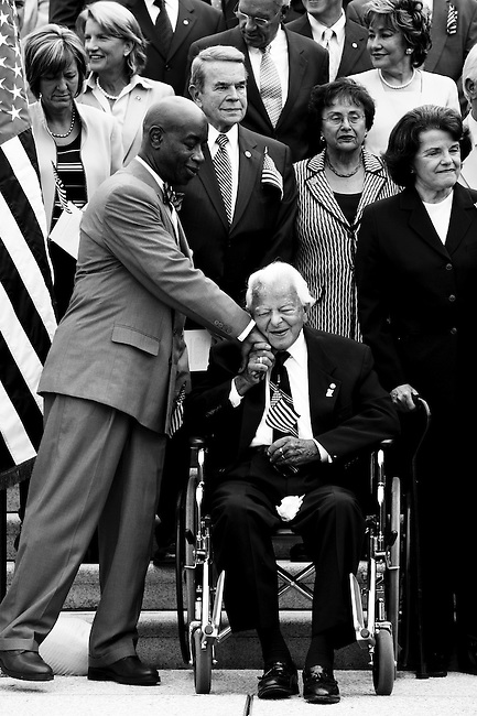 SEPTEMBER 11, 2008: U.S. Senate Chaplain Barry Black greets Sen. Robert Byrd as members of Congress gather on the steps of the West Front of the Capitol for the September 11th Remembrance Ceremony.