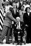 SEPTEMBER 11, 2008: U.S. Senate Chaplain BarryBlack greets Sen. Robert Byrd as members of Congress gather on the steps of the West Front of the Capitol for the September 11th Remembrance Ceremony.
