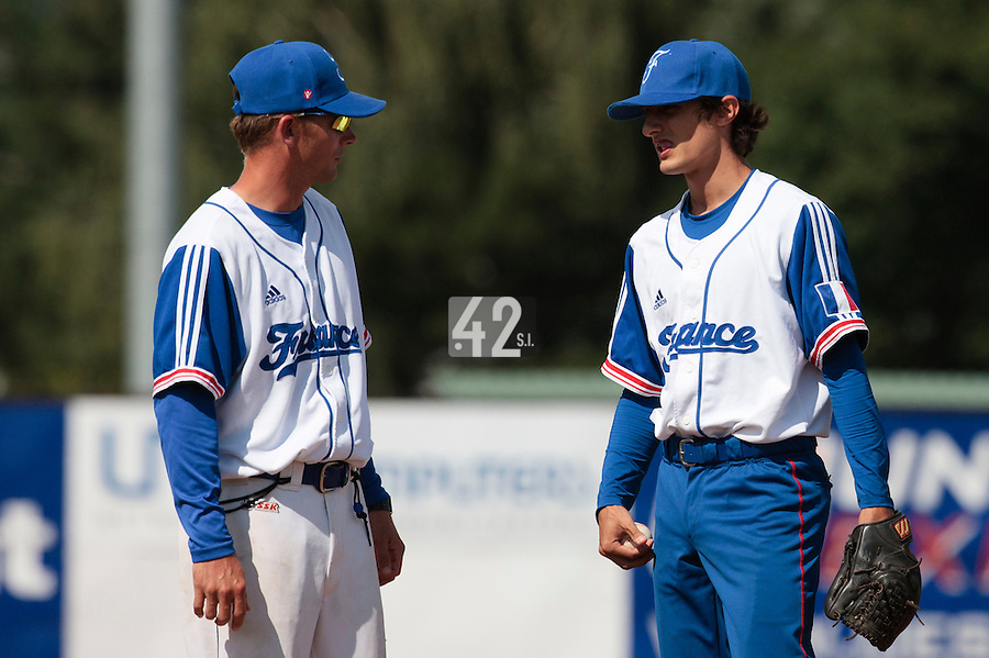 19 August 2010: Eloi Secleppe of Team France talks to Boris Rothermundt during France 7-6 win over Slovakia, at the 2010 European Championship, under 21, in Brno, Czech Republic.