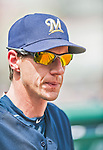23 August 2015: Milwaukee Brewers Manager Craig Counsell watches play from the dugout during a game against the Washington Nationals at Nationals Park in Washington, DC. The Nationals defeated the Brewers 9-5 in the third game of their 3-game weekend series. Mandatory Credit: Ed Wolfstein Photo *** RAW (NEF) Image File Available ***