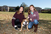 Students taking an opportunity to be photographed with Bully XXI on the Drill Field.<br />  (photo by Beth Wynn / &copy; Mississippi State University)