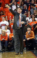 Clemson head coach Brad Brownell calls a play during an ACC basketball game against Virginia Tuesday Jan. 19, 2016, in Charlottesville, Va. (Photo/Andrew Shurtleff)