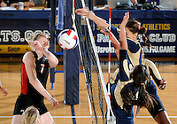 Florida International University women's volleyball player Sabrina Gonzalez (12) plays against Western Kentucky University.  Western Kentucky won the match 3-0 on September 30, 2011 at Miami, Florida. .