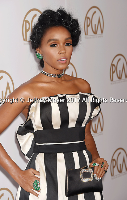 HOLLYWOOD, CA - JANUARY 28: Singer-actress Janelle Monae arrives at the 28th Annual Producers Guild Awards at The Beverly Hilton Hotel on January 28, 2017 in Beverly Hills, California.