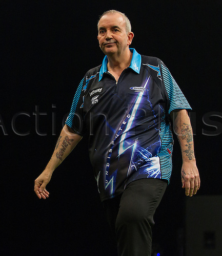 31.03.2016. The Motorpoint Arena, Cardiff.  Betway PDC Premier League Darts Judgement Night. Phil Taylor shows his frustration with his throw