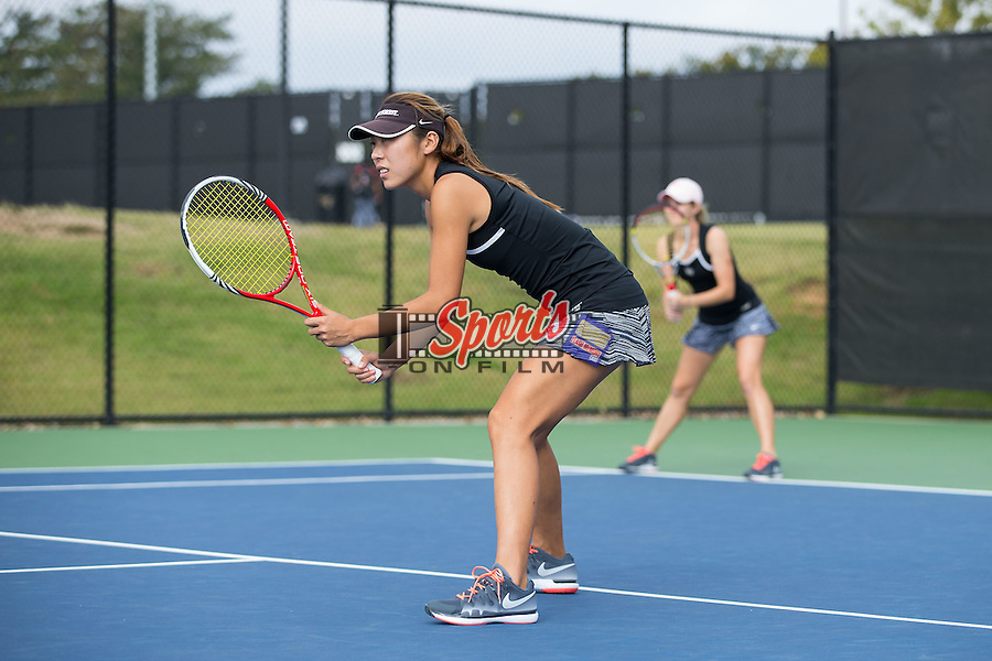 Xue Zhang of the Wake Forest Demon Deacons in action during the Wake Forest Invitational at the Wake Forest Tennis Center on October 3, 2014 in Winston-Salem, North Carolina.  (Brian Westerholt/Sports On Film)