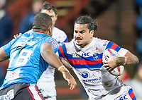 Picture by Allan McKenzie/SWpix.com - 09/02/2018 - Rugby League - Betfred Super League - Wakefield Trinity v Salford Red Devils - The Mobile Rocket Stadium, Wakefield, England - Justin Horo fends off Ben Nakubuwai.