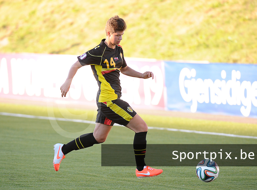 20140718 - Tonsberg , NORWAY : Belgian Isabelle Iliano pictured during the female soccer match between Women under 19 teams of Norway and Belgium , on the second matchday in group A of the UEFA Women Under19 European Championship at Tonsberg Stadion , Norway . Friday 18th July 2014 . PHOTO DAVID CATRY