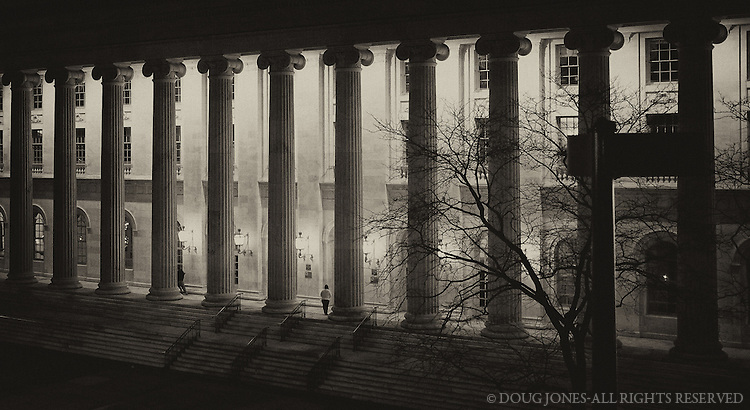 Taken from the 4th floor of the parking garage across the street (with a Fujifilm Finepix X100-handheld on a concrete railing). Byron White was a Supreme Court justice from Ft. Collins, CO, and a football star at the University of Colorado.  This beautiful courthouse is a fitting tribute to a great Coloradan.