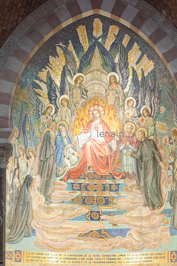France, Saône-et-Loire (71), Paray-le-Monial, chapelle de  la Colombière, la mosaïque du choeur // France, Saône-et-Loire, Paray-le-Monial, Chapel Colombiere, mosaic choir