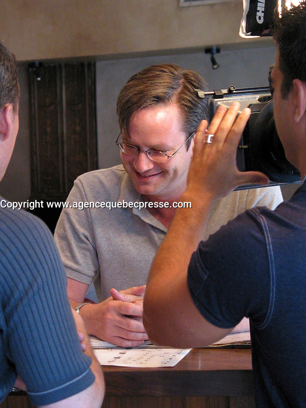 June 5 2002, Montreal, Quebec, Canada<br /> <br /> Humorist Mark Mckinney, gives a TV interview,<br /> July 5, 2002 at the Globe Restaurant,<br />  about his play Fully Committed, currently playing at the Centaur Theater in Montreal, <br /> <br /> Formelly of The Kids In The Hall Canadian TV show, McKinney now based in New York, plays in movies and TV series such as DICE, Brain Candy, ... as well as doing comedy and theater.<br /> <br /> Mandatory Credit: Photo by Pierre Roussel- Images Distribution. (&copy;) Copyright 2002 by Pierre Roussel <br /> <br /> NOTE :<br /> Canon G-2 oroginal jpeg, converted from sRG to  Adobe 1998 RGB.<br /> Original size and uncompressed file available on request.