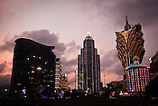 An overview of Macau's many casinos including the Grand Lisboa in Macau, China.