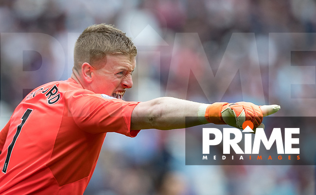 Everton goalkeeper Jordan Pickford during the Premier League match between West Ham United and Everton at the Olympic Park, London, England on 13 May 2018. Photo by Andy Rowland / PRiME Media Images.