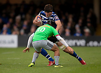 Bath Rugby's Josh Bayliss evades the tackle of Harlequins' Demetri Catrakilis<br /> <br /> Photographer Bob Bradford/CameraSport<br /> <br /> Premiership Rugby Cup Round 1 - Bath Rugby v Harlequins - Saturday 27th October 2018 - The Recreation Ground - Bath<br /> <br /> World Copyright © 2018 CameraSport. All rights reserved. 43 Linden Ave. Countesthorpe. Leicester. England. LE8 5PG - Tel: +44 (0) 116 277 4147 - admin@camerasport.com - www.camerasport.com