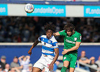Preston North End's Ben Pearson heads at goal under pressure from Queens Park Rangers' Eberechi Eze<br /> <br /> Photographer Andrew Kearns/CameraSport<br /> <br /> The EFL Sky Bet Championship - Queens Park Rangers v Preston North End - Loftus Road - London<br /> <br /> World Copyright &copy; 2018 CameraSport. All rights reserved. 43 Linden Ave. Countesthorpe. Leicester. England. LE8 5PG - Tel: +44 (0) 116 277 4147 - admin@camerasport.com - www.camerasport.com