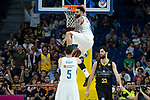 Real Madrid Jeffery Taylor and Rudy Fernandez and Iberostar Tenerife Javier Beiran during first match quarter finals of Liga Endesa Playoff between Real Madrid and Iberostar Tenerife at Wizink Center in Madrid, Spain. May 27, 2018. (ALTERPHOTOS/Borja B.Hojas)