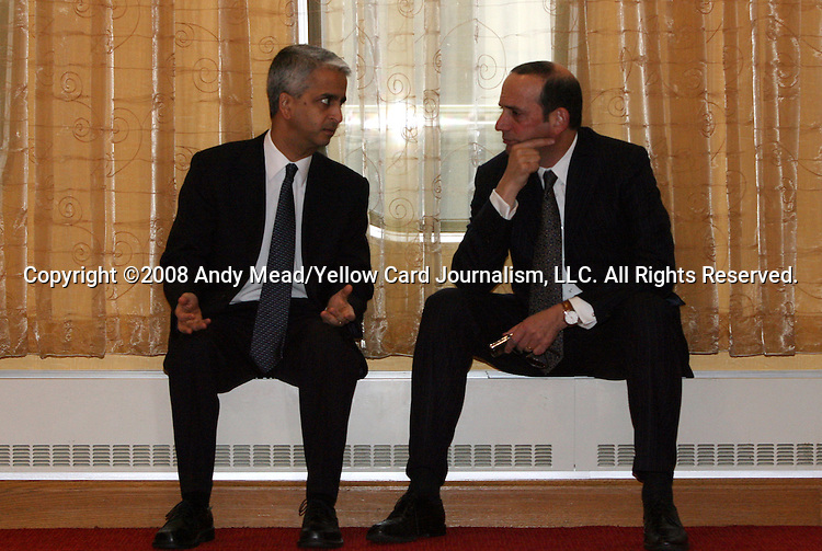 11 February 2009: USSF President Sunil Gulati (left) with Major League Soccer commissioner Don Garber (right). The United States Soccer Federation presented its bid to host either the 2018 FIFA World Cup or 2022 FIFA World Cup to the media at the Renaissance Hotel in Columbus, OH.