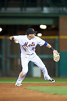 Scottsdale Scorpions Gavin Cecchini (2), of the New York Mets organization, during a game against the Salt River Rafters on October 20, 2016 at Scottsdale Stadium in Scottsdale, Arizona.  Scottsdale defeated Salt River 4-1.  (Mike Janes/Four Seam Images)