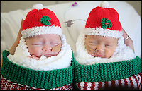 BNPS.co.uk (01202 558833)<br /> Pic: CorinMesser/BNPS<br /> <br /> Twins Jasmine(r) and Amber.<br /> <br /> Twin baby girls who have beaten the odds to survive after being born three months premature have been reunited in time for Christmas.<br /> <br /> Little Jasmine and Amber Smith-Leach were born 12 weeks early, weighing just 2lb 2oz and 2lb 12oz respectively. <br /> <br /> Despite not being due until January 22, the babies have fought through setback after setback.<br /> <br /> Last night (sat) the pair shared a cot for the first time while mum Kat Smith slept next do them.