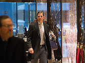 Eric Trump arrives to Trump Tower on January 17, 2017 in New York City. U.S. President Elect Donald Trump is still holding meetings upstairs at Trump Tower just 3 days before the inauguration.   <br /> Credit: Bryan R. Smith / Pool via CNP