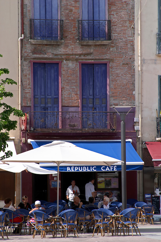 Cafe on a square. Perpignan, Roussillon, France.