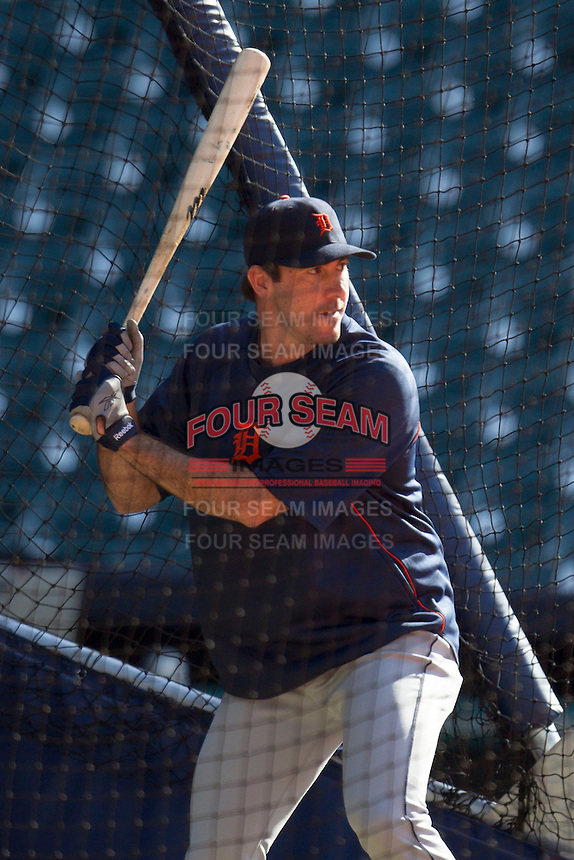 Detroit Tigers pitcher Justin Verlander in the batting cage before the MLB baseball game against the Houston Astros on May 3, 2013 at Minute Maid Park in Houston, Texas. Detroit defeated Houston 4-3. (Andrew Woolley/Four Seam Images).
