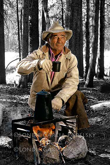 Cowboy drinking cowboy at the campfire. Kings Canyon National Park, California  (dad-Roy)