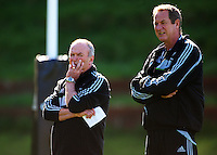 All Blacks coach Graham Henry with skills coach Mick Byrne. All Blacks Training Session at Rugby League Park, Newtown, Wellington. Thursday 17 September 2009. Photo: Dave Lintott/lintottphoto.co.nz