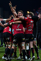 David havili of the Crusaders celebrates following the final whistle in the 2018 Super Rugby final between the Crusaders and Lions at AMI Stadium in Christchurch, New Zealand on Sunday, 29 July 2018. Photo: Joe Johnson / lintottphoto.co.nz