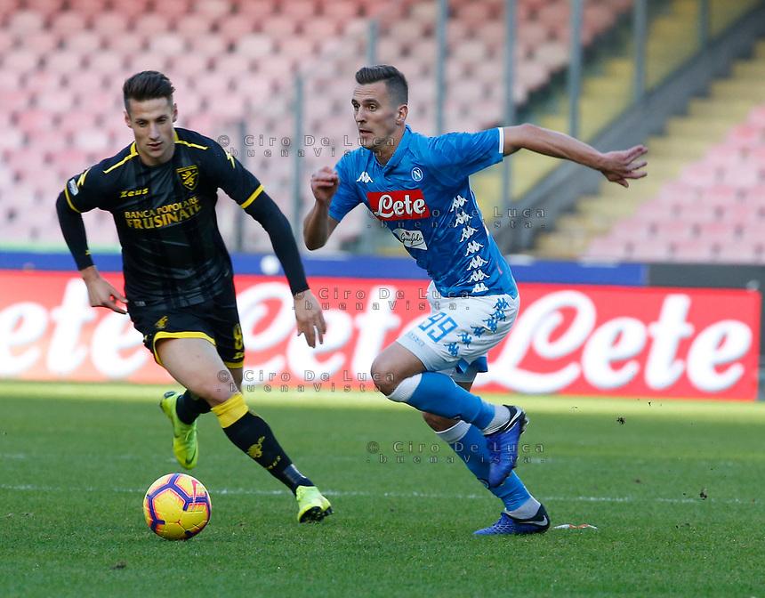 Arkadiusz Milik of Napoli   during the  italian serie a soccer match,  SSC Napoli - Frosinone       at  the San  Paolo   stadium in Naples  Italy , December 08, 2018