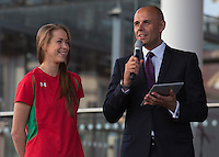 Wednesday September 10, 2014 <br /> Picture: Frankie Jones, Jason Mohammad<br /> RE: Jason Mohammad speaks to Frankie Jones at the Commonwealth Games, Team Wales homecoming ceremony at the Senedd, Cardiff, South Wales, United Kingdom.