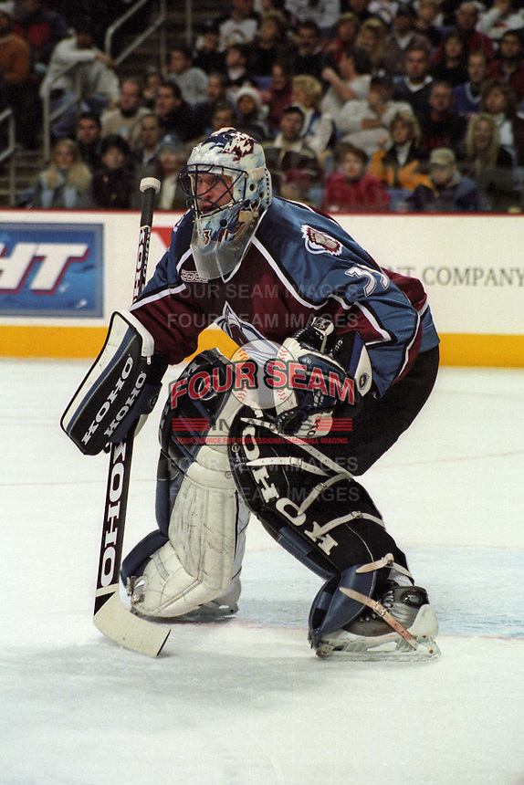 Goaltender Patrick Roy #33 of the Colorado Avalanche during a regular season game at HSBC Arena on December 23, 1999 in Buffalo, New York.  Buffalo defeated Colorado 2-1.  (Mike Janes/Four Seam Images)