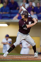 Mississippi State Bulldog shortstop Adam Frazier #12 at bat against the LSU Tigers during the NCAA baseball game on March 16, 2012 at Alex Box Stadium in Baton Rouge, Louisiana. LSU defeated Mississippi State 3-2 in 10 innings. (Andrew Woolley / Four Seam Images).