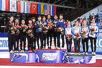 """SHORT TRACK: MOSCOW: Speed Skating Centre """"Krylatskoe"""", 15-03-2015, ISU World Short Track Speed Skating Championships 2015, Podium Relay Ladies, CHINA, KOREA, ITALY, ©photo Martin de Jong"""