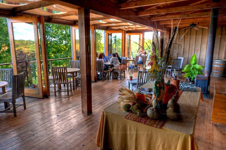 Wine club members enjoy the deck at Linden Vineyard. (HDR image)
