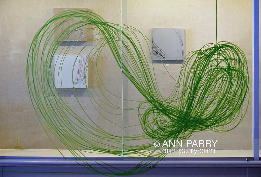 "Roslyn, New York, USA. January 31, 2015. At Artists Reception for ""The Alchemists"" is work by artist Karine Falleni, documenting movement, including installation with green automotie tape, at Bryant Library. Curated by Ellen Hallie Schiff."