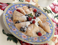 Crepe Breakfast;crepes with vanilla yogurt and fresh berries