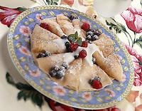 Crepe Breakfast;crepes with vanilla yogurt and fresh berries