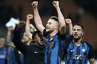 Calcio, Serie A: AC Milan - Inter Milan, Giuseppe Meazza (San Siro) stadium, Milan on 17 March 2019.  <br /> Inter's Milan Skriniar (c )celebrates with his teammates after winning 3- 2 the Italian Serie A football match between Milan and Inter Milan at Giuseppe Meazza stadium, on 17 March 2019. <br /> UPDATE IMAGES PRESS/Isabella Bonotto