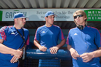 31 July 2010: Didier Seminet, Boris Marche, Luc Piquet are seen prior to Greece 14-5 win over France, at the 2010 European Championship, in Heidenheim, Germany.